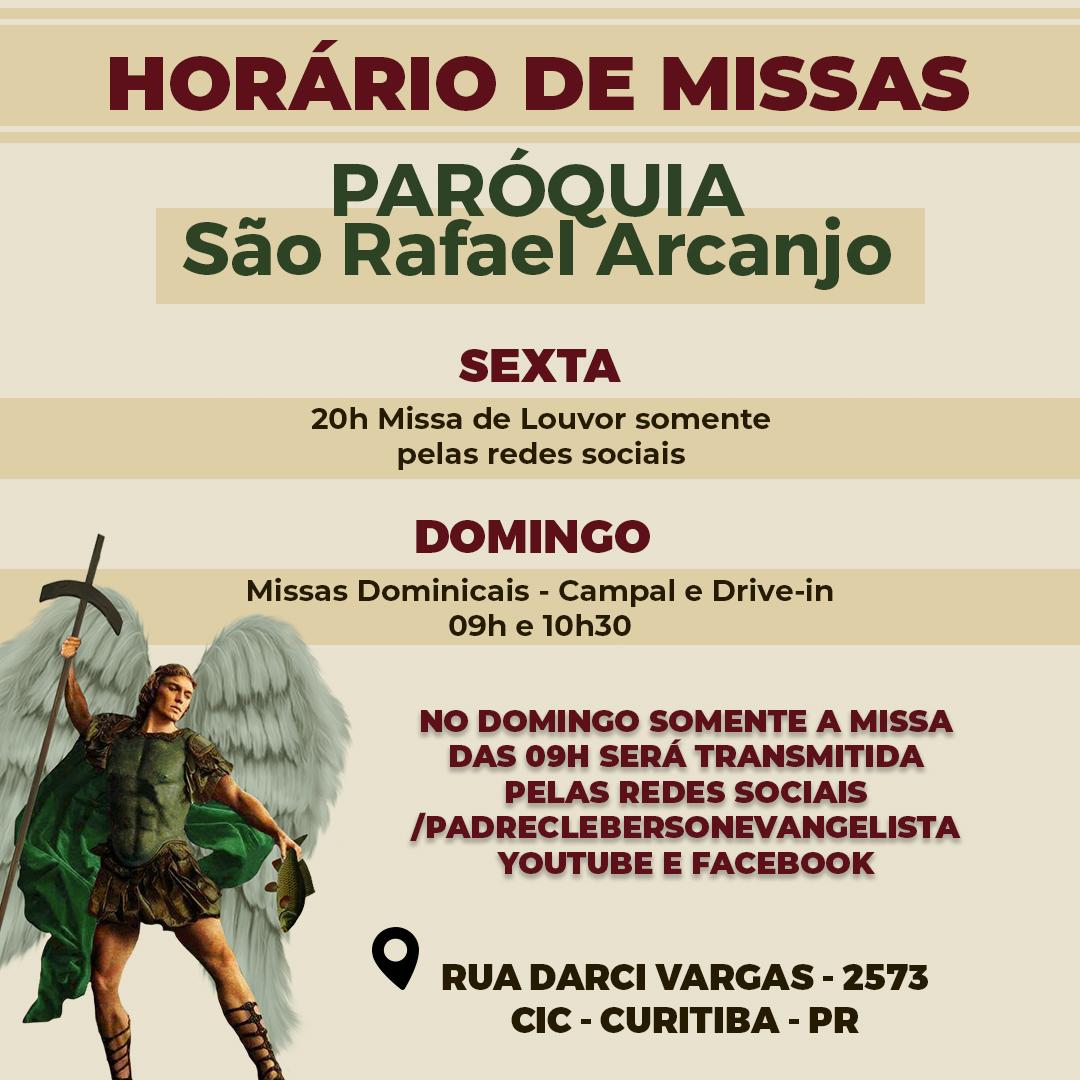 Missas online e presenciais na paróquia São Rafael Arcanjo