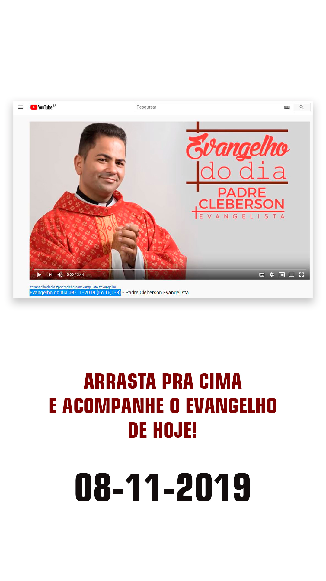 Pregação nova do padre Cleberson no Youtube