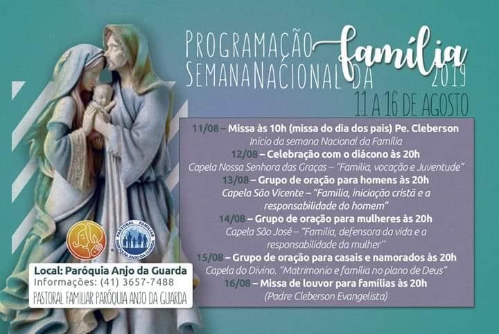 Semana nacional da Família na paróquia Anjo da Guarda - PROGRAMAÇÃO