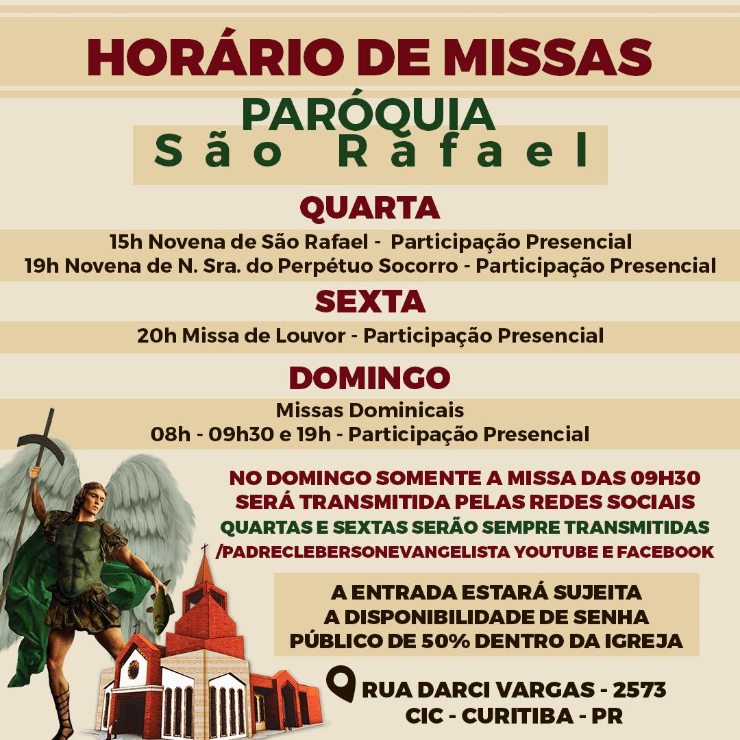 Novo horários de Missas na paróquia São Rafael