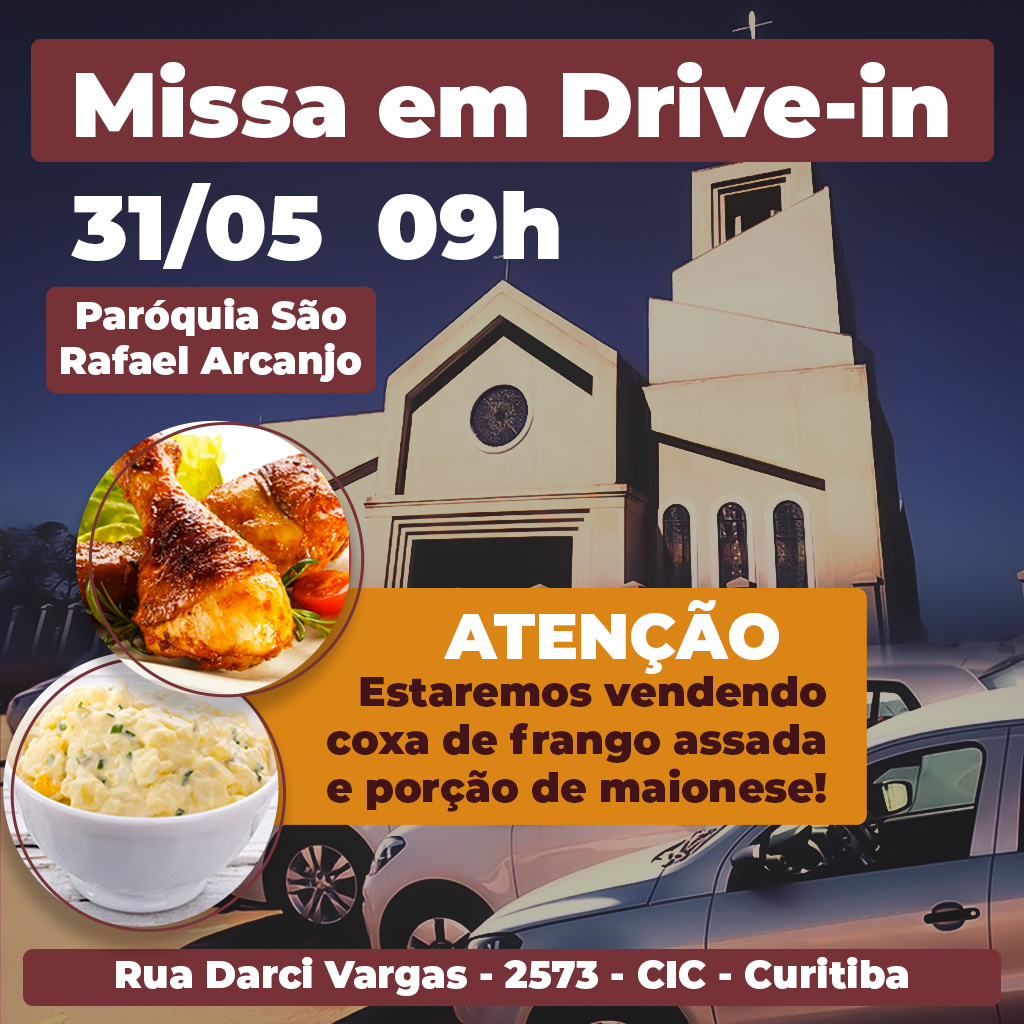 Missa em Drive-in na paróquia São Rafael Arcanjo