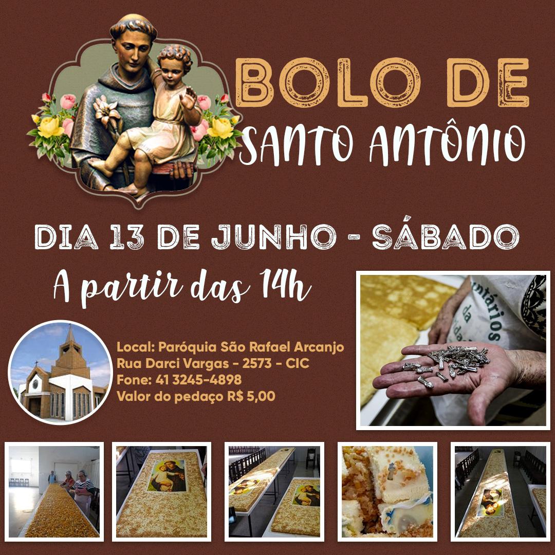 Bolo de Santo Antônio na paróquia São Rafael Arcanjo
