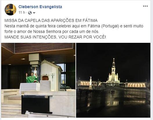 Padre Cleberson Evangelista preside sua primeira missa em Fátima - Portugal