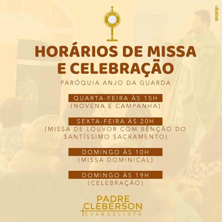 Fique atendo aos horários de missas e celebrações na paróquia Anjo da Guarda