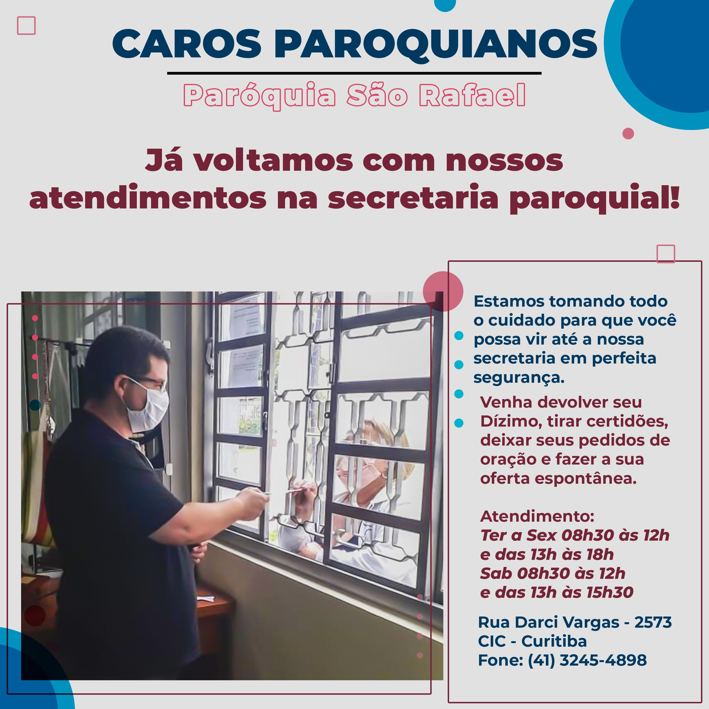 Horário de atendimento paróquia São Rafael